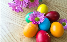 Preview wallpaper Colorful Easter eggs, purple flowers