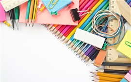 Colorful pencils, eraser, stationery