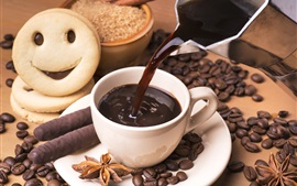 Galletas, café, chocolate, postre