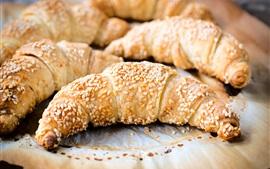 Croissants, pão, sésamo