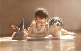 Preview wallpaper Cute baby, rabbit and dog, friends