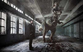 Preview wallpaper Dinosaur and man in hall