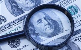 Доллар, увеличительное стекло, деньги
