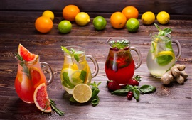 Drinks and fruits, lemon, strawberry, oranges
