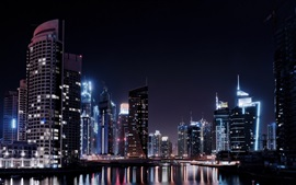 Preview wallpaper Dubai city night, lights, river, skyscrapers