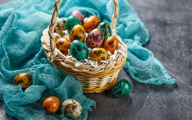 Preview wallpaper Easter eggs, colorful, basket, cloth