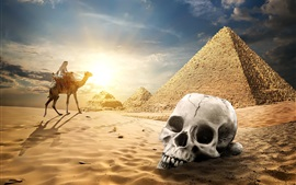Preview wallpaper Egypt pyramid, desert, skull, camel, sunset