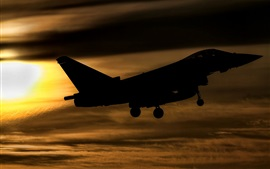 Eurofighter Typhoon FGR4 fighter flight at sunset