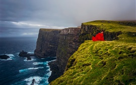 Preview wallpaper Faroe Islands, Atlantic ocean, Denmark, sea, cliff, red dress girl