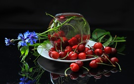 Fresh cherries, red, fruit, blue flowers
