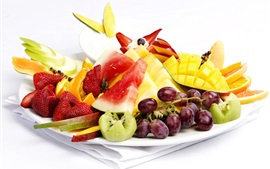 Preview wallpaper Fresh fruit dessert, grapes, strawberries, mango, watermelon, oranges