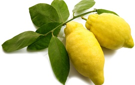 Preview wallpaper Fresh yellow lemons, white background
