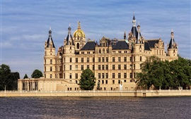 Preview wallpaper Germany, Schwerin, castle, river, trees