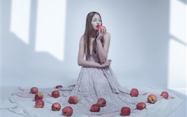 Preview wallpaper Girl and apples, room