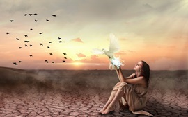 Preview wallpaper Girl and birds, sunset, creative picture