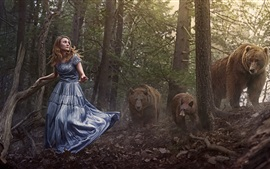 Preview wallpaper Girl in forest, brown bears