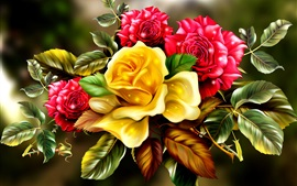 Preview wallpaper Golden and red rose flowers, art picture