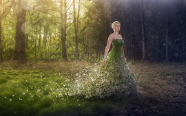 Preview wallpaper Green skirt girl, nature, trees, art photography