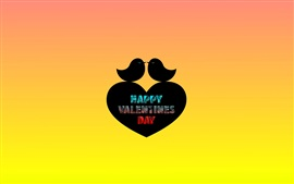Preview wallpaper Happy Valentines Day, two birds, love heart