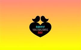 Bonne Saint Valentin, deux oiseaux, coeur d'amour