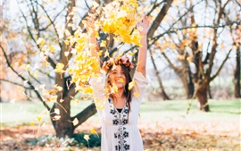 Preview wallpaper Happy girl play leaves, autumn
