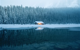 Preview wallpaper House, lake, water, snow, forest, winter