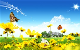 Preview wallpaper House, yellow flowers, butterfly, ladybug, clouds, blue sky
