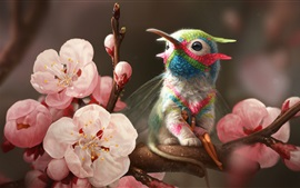 Preview wallpaper Hummingbird, elf girl, pink flowers, spring