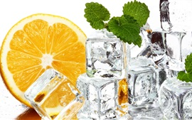 Ice cubes, orange, mint