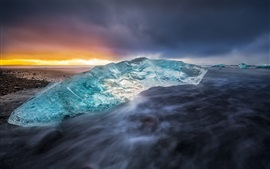 Ice, sea, coast, sunset, Iceland