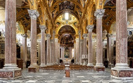 Preview wallpaper Italy, Basilica, columns, bench, hall