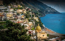 Italy, Campania, Amalfi Coast, Positano, city, sea