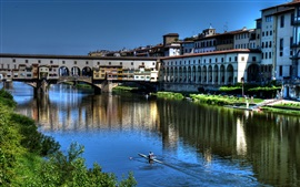 Preview wallpaper Italy, Florence, river, bridge, houses, city
