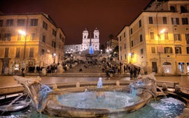 Preview wallpaper Italy, Rome, people, fountain, square, night, lights, buildings