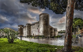 Preview wallpaper Italy, Sicily, Ursino Castle, clouds, trees, HDR style