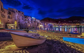 Italy, Sicily, beach, boats, houses, lights, night