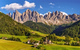 Italy, South Tyrol, Dolomites, village, grass, mountains, trees
