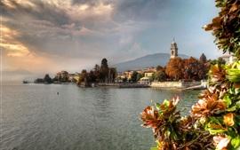 Itália, lago, árvores, casas, cidade, nuvens