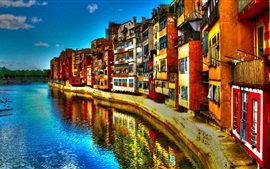 Italy, river, houses, buildings, colorful, HDR style