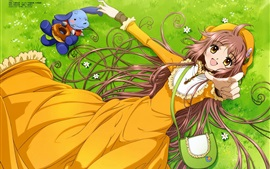 Preview wallpaper Kobato, happy anime girl, meadow, bag, toy