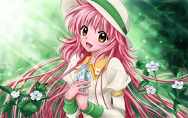Kobato, pink hair anime girl, hat, flowers