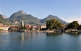 Lake Garda, Italy, mountains, trees, city