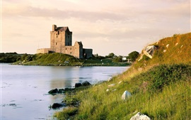 Lake, grass, Dunguaire Castle, Ireland