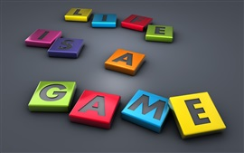 Preview wallpaper Life Is A Game, 3D letters