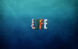 Preview wallpaper Life, blue background, creative design