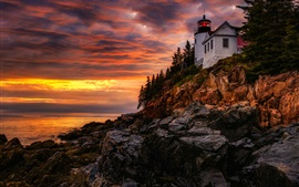 Preview wallpaper Lighthouse, evening, sunset, sea, red sky, clouds, glow, USA