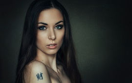 Preview wallpaper Long hair girl, shoulder, tattoo