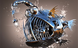 Preview wallpaper Metal fish, 3D design