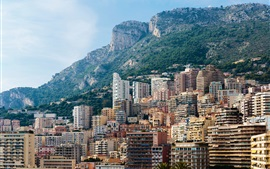 Preview wallpaper Monaco, Monte Carlo, mountains, rocks, city, houses