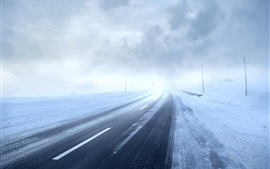 Morning, fog, road, snow, winter